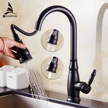 Kithchen Faucets Luxury Pull Out Kitchen Sink Faucet Brass Swivel Spray Kitchen Tap Single Hole Water Tap torneira cozinha 4118