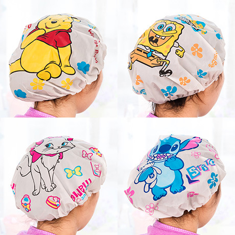 Home Improvement Elastic Waterproof Hats Women Ladies Clear Bath Spa Caps Comfortable Cartoon Shower Caps Bathing Bathroom Products