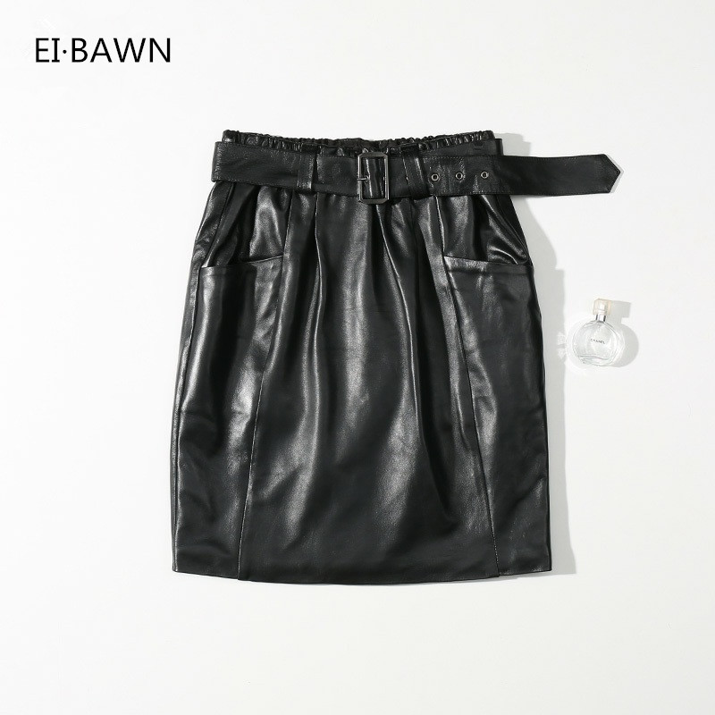 2019 Autumn Winter Genuine Leather Skirts Women High Lambskin Waist Sexy&club Black Mini Skirts Ladies Real Sheepskin Sexy Skirt