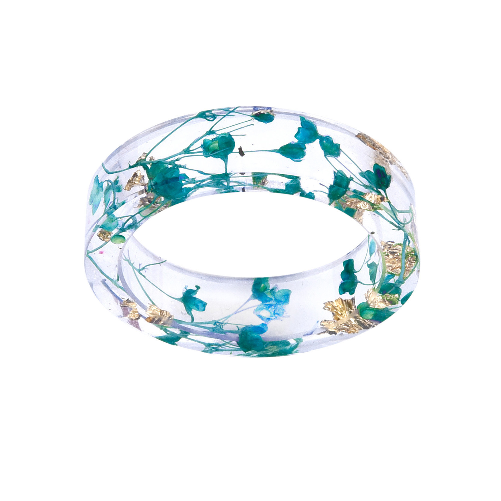 2018 New Fashion Fresh Transparent Dried Flowers Ring  Party Jewelry Cute Resin Rings For Women Romantic