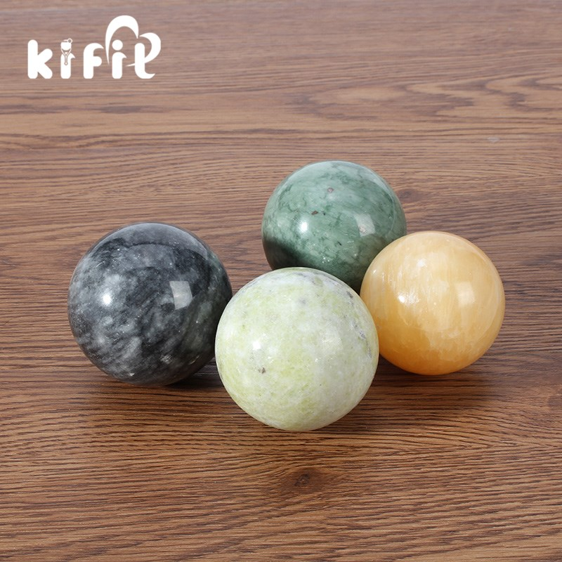 KIFIT Natural Stone Massage Health Ball Exercise Meditation Stress Relief Handball Fitness Ball Natural Health Care Product 2 sets ball the plum flower jade handball furnishing articles hand bead natural jade health care gifts