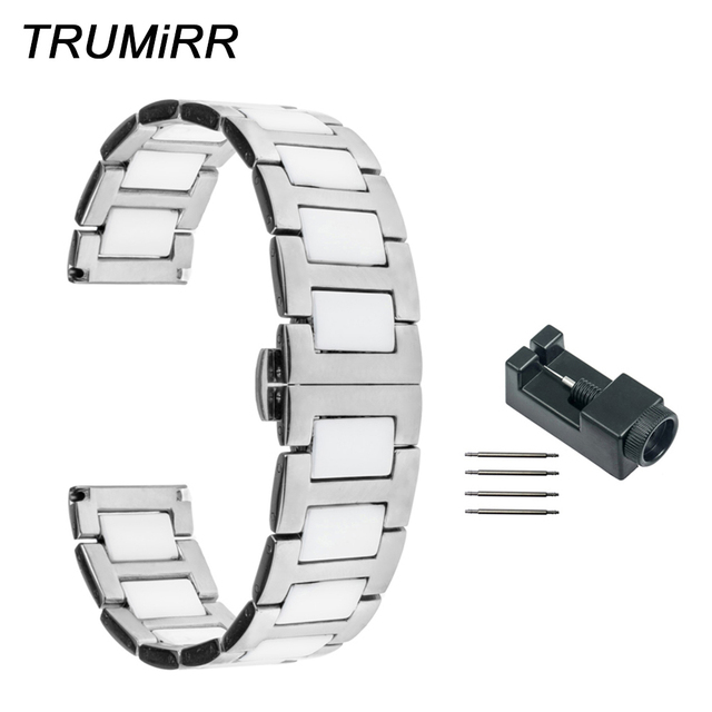 18mm 20mm 22mm Ceramic Stainless Steel Watch Band For Seiko Men Women Strap Erfly Buckle Link Bracelet Black Gold White