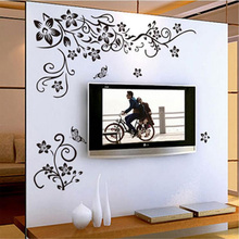 Black flower wall stickers living room DIY home decor bedroom decals removable furniture mural