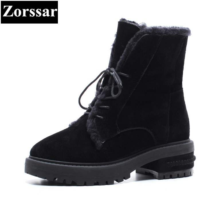 {Zorssar} 2017 NEW winter warm plush Womens shoes cow suede High heels ankle snow Boots Thick wool inside women boots winter european grand prix 2016 new winter shoes high top ankle boots inside frosted increased korea shoes wholesale