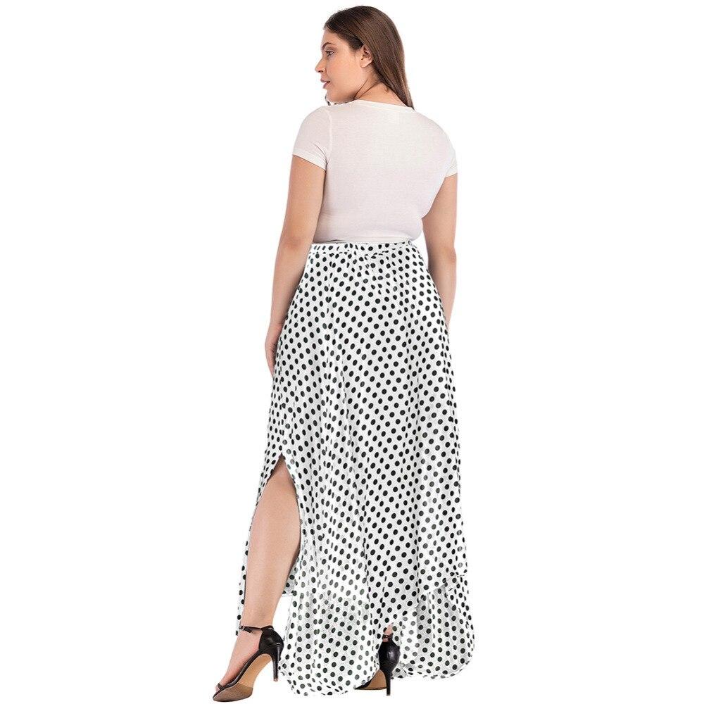 5d95eee82e0 Romacci Vintage Boho Long Skirt Women Plus Size High Waist Polka Dot Maxi  Skirt Side Slit Asymmetric Hem Summer Chiffon Skirt-in Skirts from Women s  ...