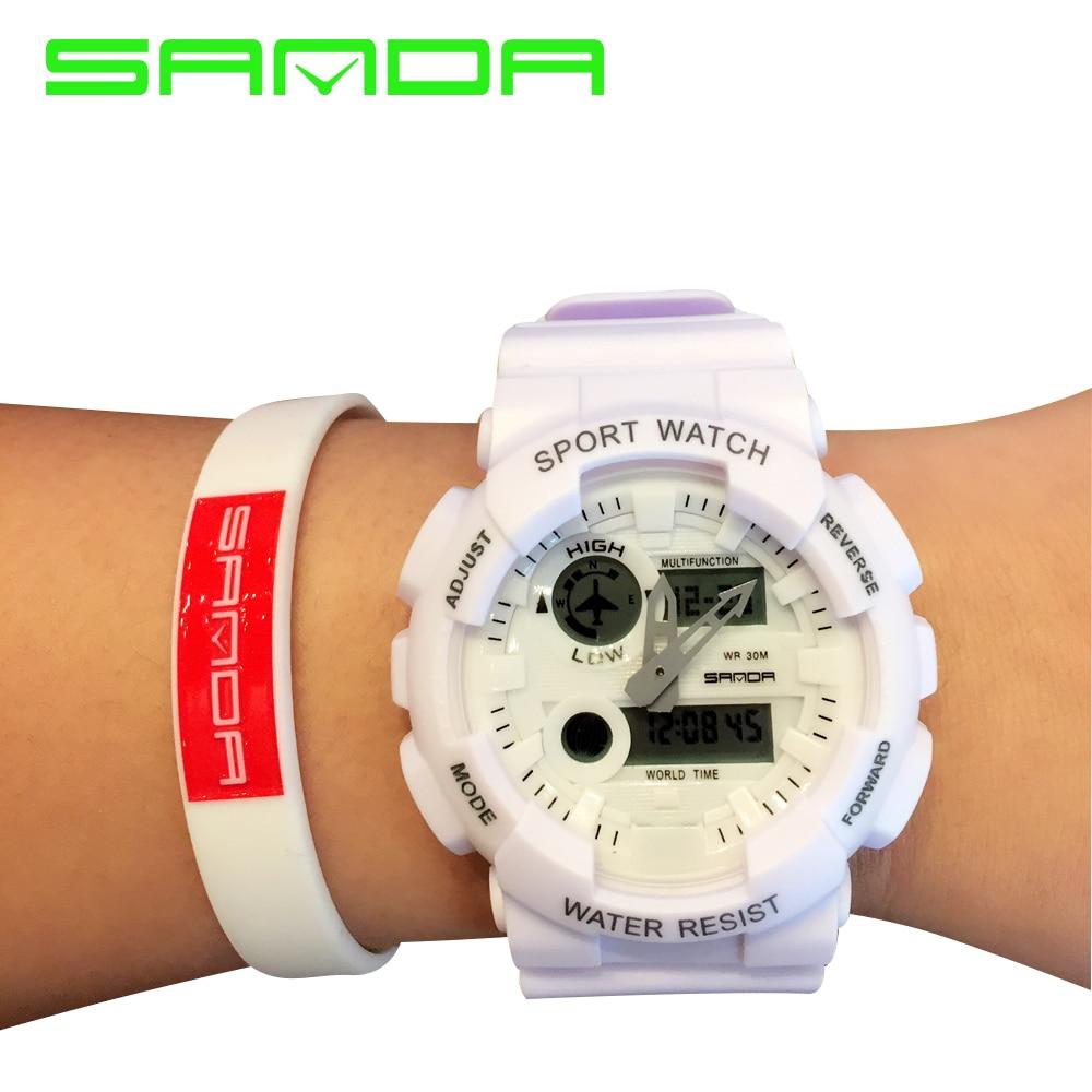 Sanda színes férfi digitális luxus márka katonai óra automatikus vízálló karóra Top Quality G női híres sokk óra