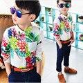 2016 Весна Осень Мода Рубашки Для Мальчика С Длинным Рукавом Цветок печати Блузка Лиене Ребенка Мальчики Гавайских Рубашках Для Партии 2-7 лет