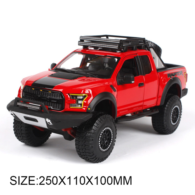 Off-roading Pickup 1:24 Model Car Ford F150 SVT Raptor Truck Metal Toys gift modified car simulation model For Collection