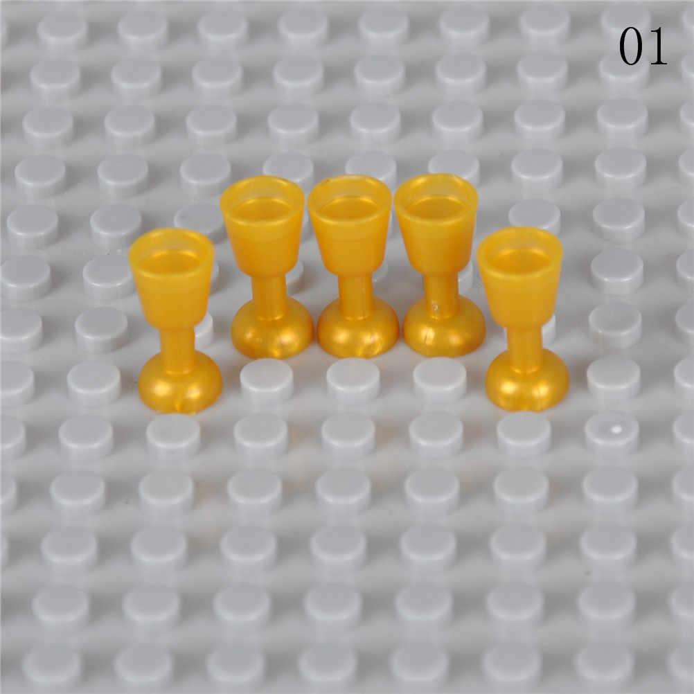 1 conjunto dom Blocos de Construção de brinquedo DIY Utensílio garrafa verde black white Gold & Trans trans limpar Cálice Copo de frutas cesta