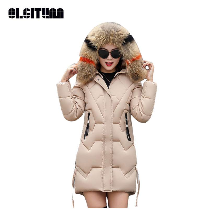 Long Women's Jacket Coat Winter Slim Down Cotton Lady's   Parkas   High Quality Solid Women's   Parkas   Coat with Large Fur CC648