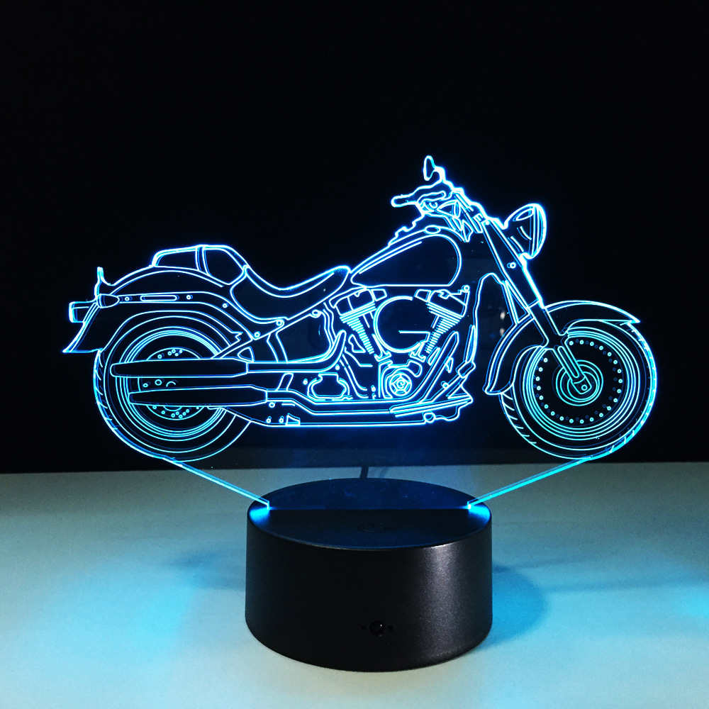 Motor Shape USB 3D LED Lamp Night Light Acrylic Table lamp Touch 7 Colors Changing Motorcycle Sleeping Lamparas Light for Gift