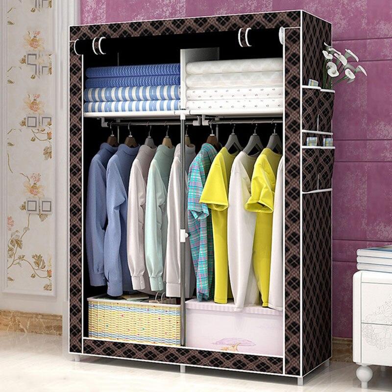 Simple Folding Wardrobe Fabric Steel Pipe Assembly Storage Cabinet Dustproof Lockers Dormitory Bedroom Home Cloth Wardrobe