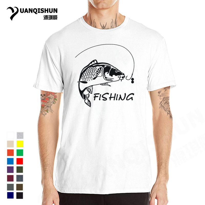 Fishings Carp T-shirts Love to Fish Printed Tshirt High Quality Men's O-Neck Cotton Short sleeves Tees Funny Men Fitness Tops