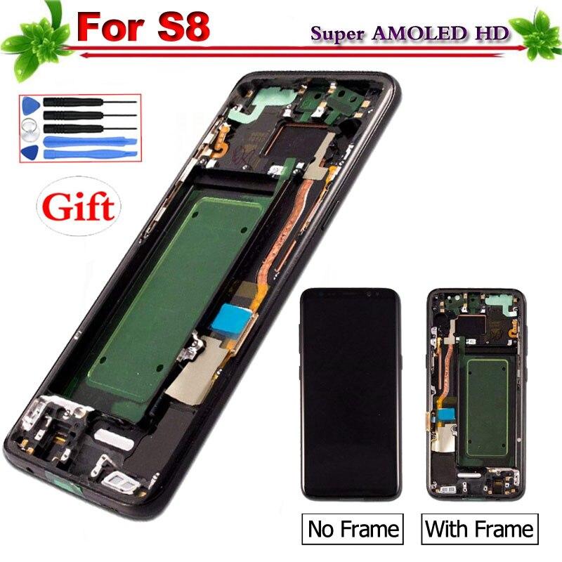 5,8 Super Amoled для samsung Galaxy S8 G950 G950F ЖК дисплей Дисплей Сенсорный экран планшета для Galaxy S8 с рамкой 2560x1440