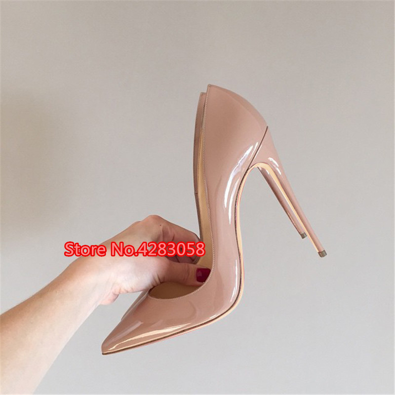 Free shipping fashion women Pumps Nude patent leather sexy lady Pointy toe high heels shoes size33-43 12cm 10cm 8cm party shoes big size 40 41 42 women pumps 11 cm thin heels fashion beautiful pointy toe spell color sexy shoes discount sale free shipping