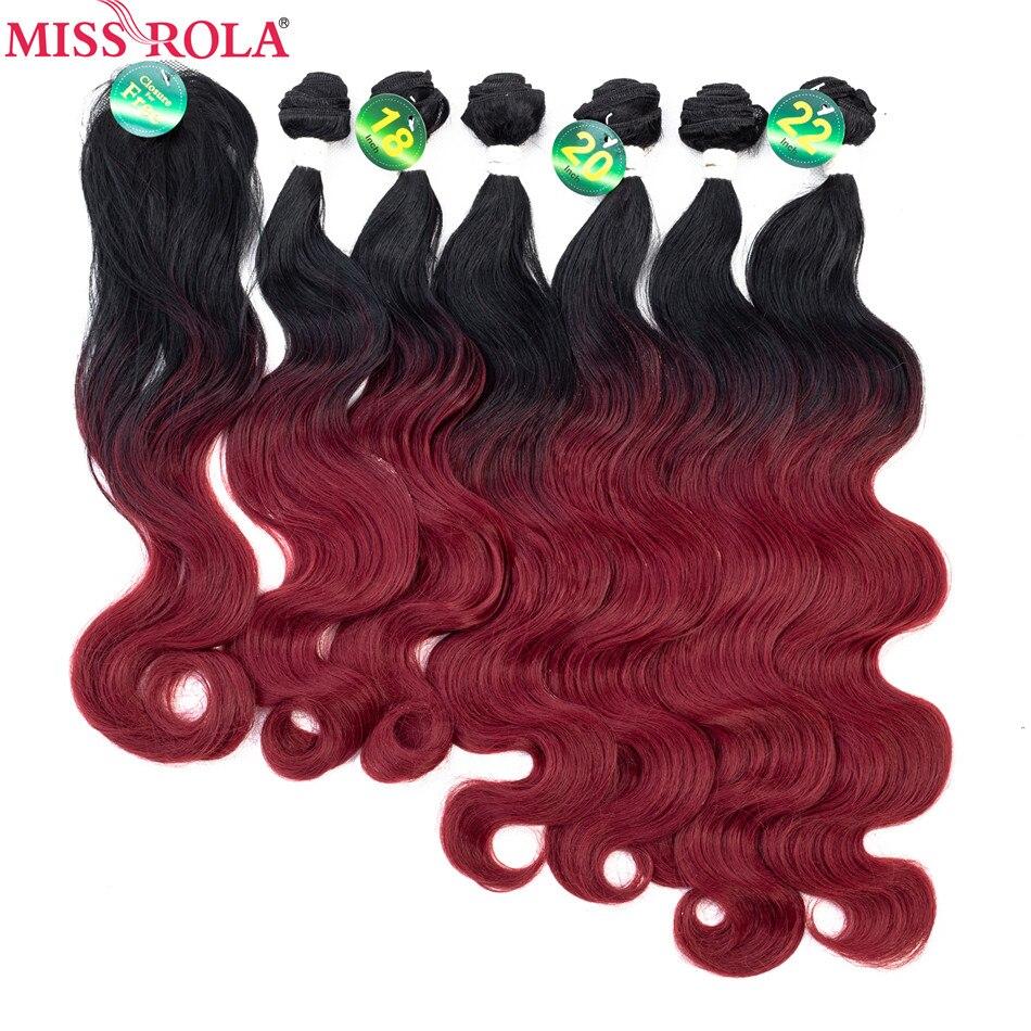 Пучки волос Miss Rola, синтетические волосы для наращивания, объемные волнистые пучки, T1B-BUG, 6 шт., 18-22 дюйма, волосы с бесплатной застежкой