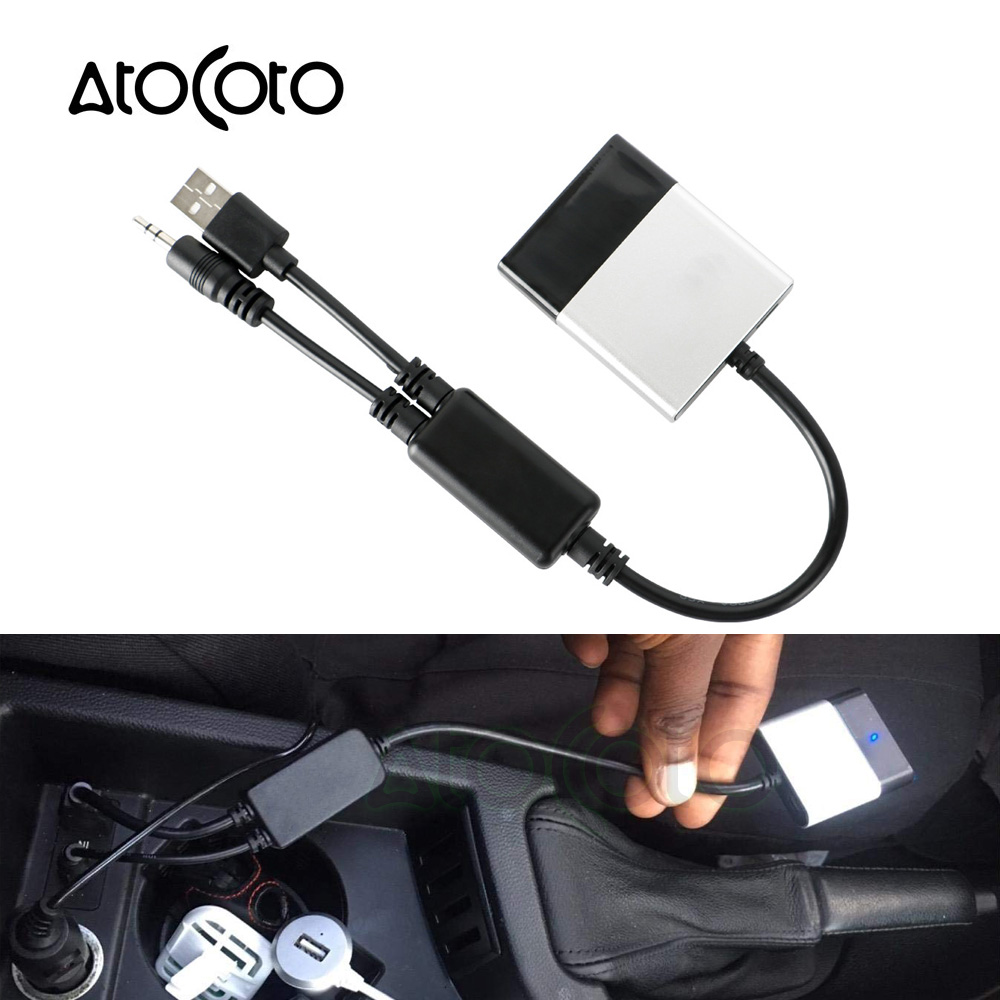 AtoCoto Bluetooth Car Kit Module Receiver 3.5MM AUX USB Interface Y Cable Adapter for BMW Mini Cooper A2DP for iPhone Audio In(China)