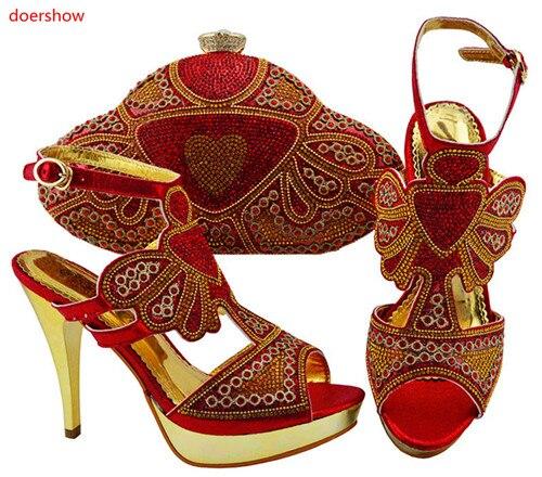 Set 13 D bluegoldaquaorangelilarot nigerianischen Doershow Set Hochzeitstasche Schuhe passend afrikanische Italienische Huu1 Taschen zum Verschiedene Rote und mnO0Nwv8