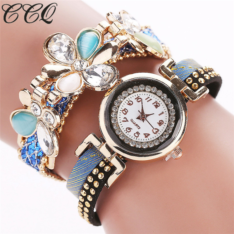 CCQ 2016 Fashion Flower Bracelet Watches Casual Women Wristwatch Luxury Quartz Watch Relogio Feminino Gift Drop Shipping C41 free shipping 1pcs htd1824 8m 30 teeth 228 width 30mm length 1824mm htd8m 1824 8m 30 arc teeth industrial rubber timing belt