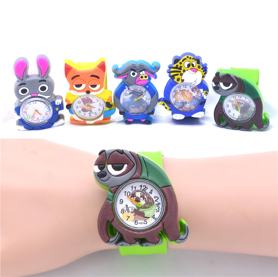 Children's Animal Watches Sloth Fox Rabbit Cow Colorful Belt Kid Wristwatch Cartoon Clock For Boys Girls Gift