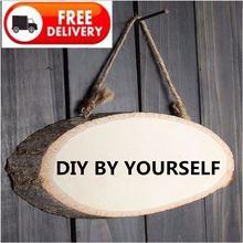 DIY Oval en blanco madera Pilehanging Sign placa de madera colgante regalo Vintage decoración del hogar plato fresco café madera cartel de pared