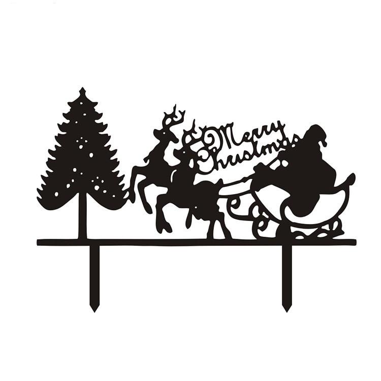 Hot Sale Santa Claus Merry Christmas Cake Flags With Christmas Tree Black White Acrylic Cake Topper For Xmas Party Cake Decor Flag Us Flags Flagsflag Black White Aliexpress