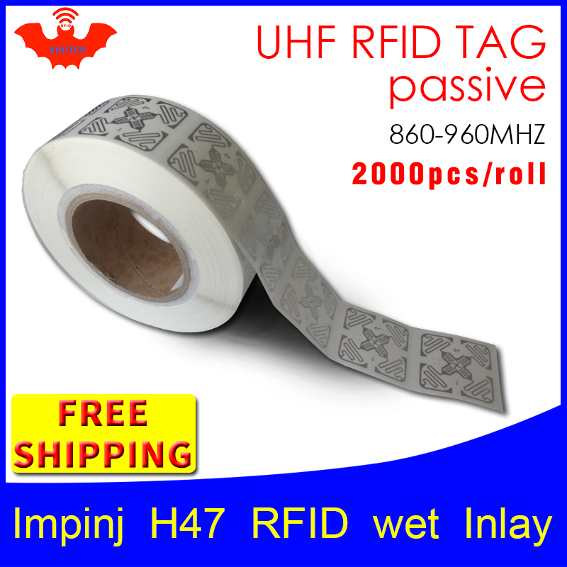RFID Tag UHF Sticker Impinj H47 EPC6C Wet Inlay 915m868m Higgs3 2000pcs Free Shipping Adhesive Long Distance Passive RFID Label
