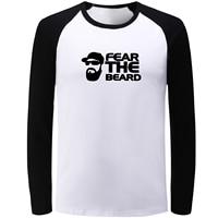 IDzn Unisex Blue Black Raglan Long Sleeve T Shirt Fashion Fear The Beard Print T Shirt