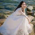New Vintage Elegante Balanço Grande Vestido de Praia Com Decote Em V Sexy Oco Out Malha Bordado Branco Longo Da Princesa Vestidos À Venda