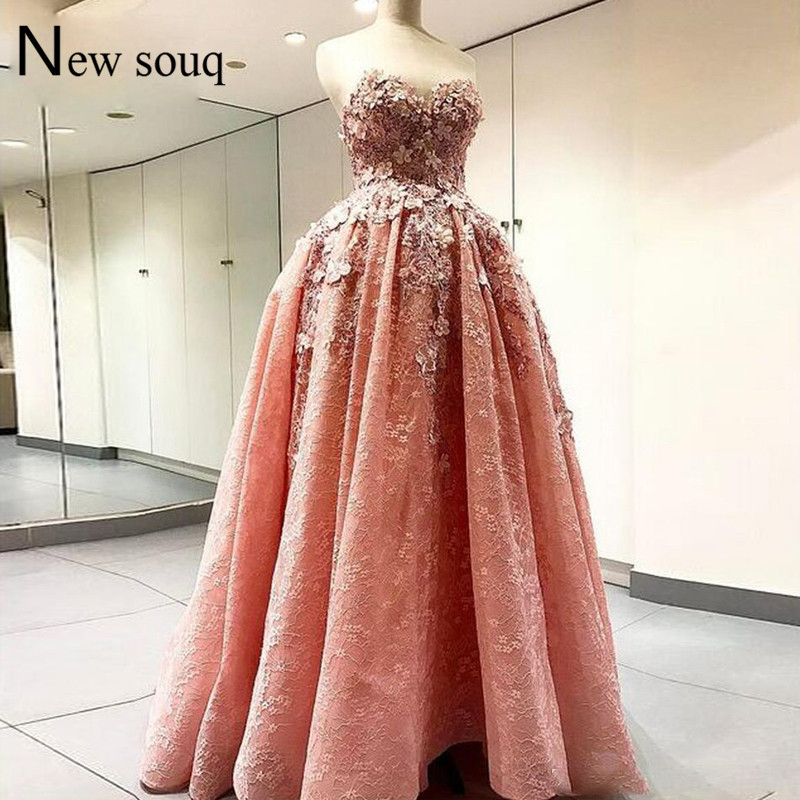Puffy Pink Lace   Prom     Dresses   2019 Custom Applique Ball Gown Party   Dress   Robe De Soiree Long Dubai Middle East Evening Gowns