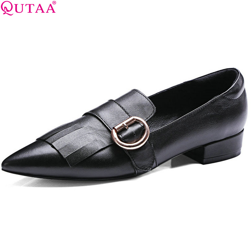 ФОТО QUTAA 2017 Black Genuine leather Women Pumps Square Low Heel Slip On Pointed Toe Platform Autumn Ladies Wedding Shoes Size 34-39