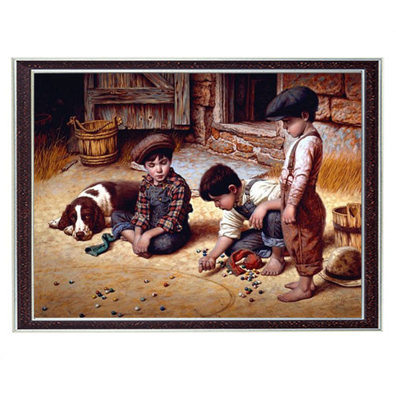 Needlework Craft Home decor 14CT unprinted embroidery French DMC Quality Counted Cross Stitch Kit/Set People Children play