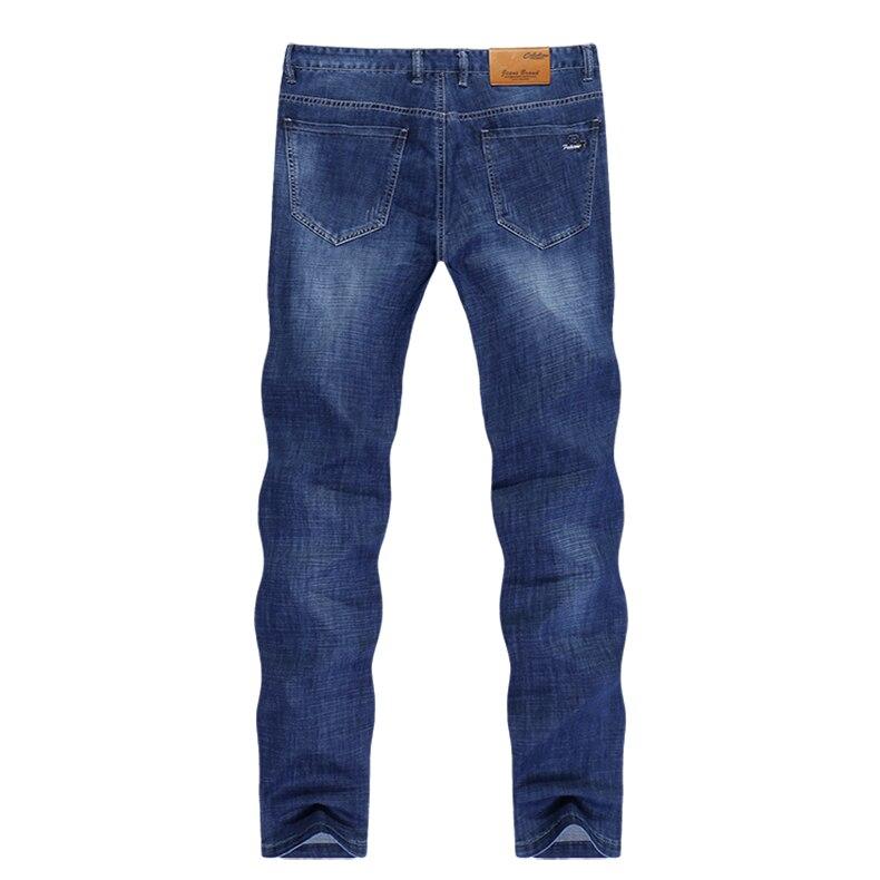 KSTUN Jeans for Men Summer Ultrathin Business Casual Straight Dark Blue Regular Fit Soft  Men's Clothes Businessman Denim Pants 12