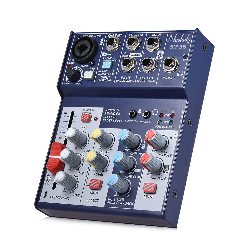 SM 36 4 Channel Mixing Console Digital Mixer Supports 5V Power Bank USB Built in 48V