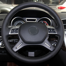 hot deal buy high quality cowhide top layer leather handmade sewing steering wheel covers protect for mercedes benz gl350 ml350