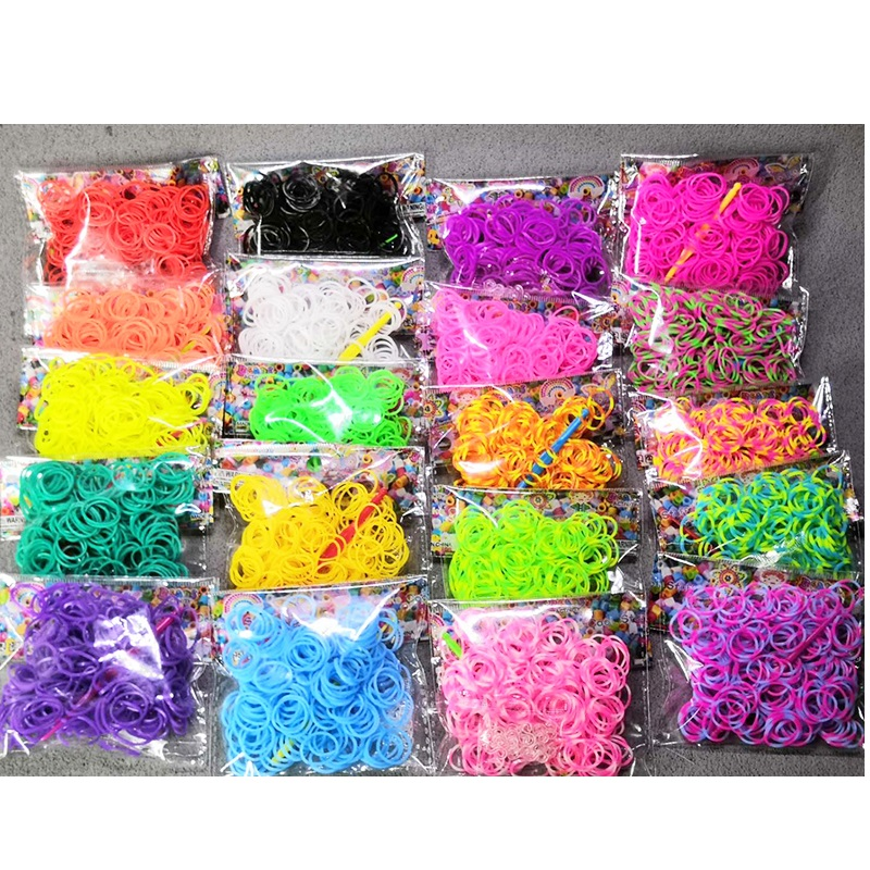 200pcs/bag Rainbow Elastic Rubber Band Black White For Bracelet With Weaving Machine Ribbon Knitted Charms Refill Package