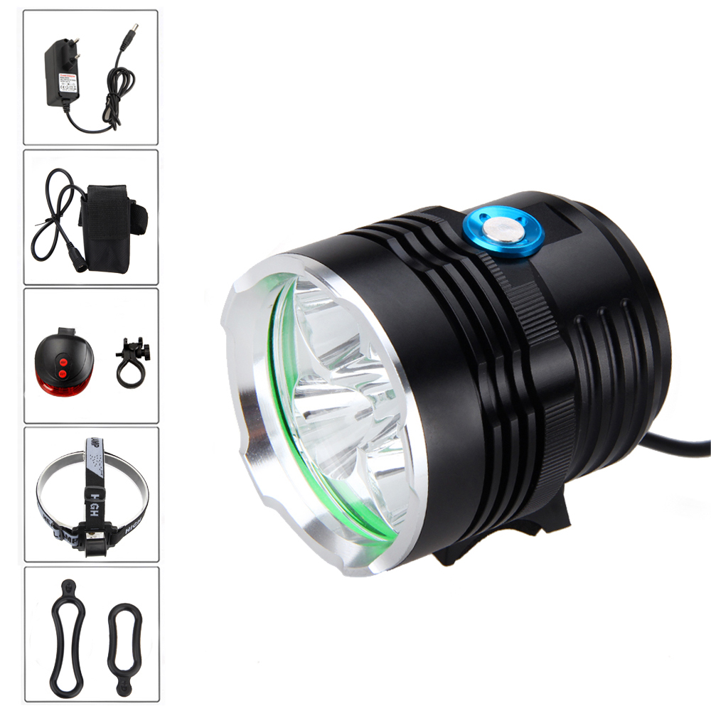 Safety Cycling Lamp 8000Lm 5x XML T6 LED Bicycle Headlight 3 Modes Front Bike Light Headlamp+ Battery +Charger+ Laser Taillight waterproof 5000 lumen 2x xml u2 led cycling bicycle bike light lamp headlight headlamp 6400mah battery pack charger