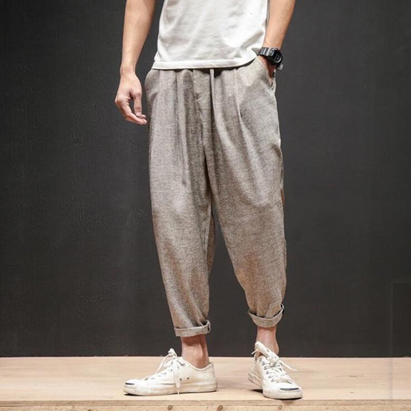 Cotone Di Estate Di Lino Harem Casuale Pantaloni Streetwear Mens Di Modo Dell'annata Pantaloni Plus Size 5xl Uomini Pantaloni Pantalon Hombre