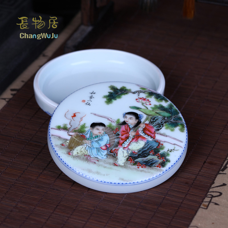 Changwuju in Jingdezhen home decoration handmade famille rose porcelain inkpad box as well as jewel box painted by Jinhongxia