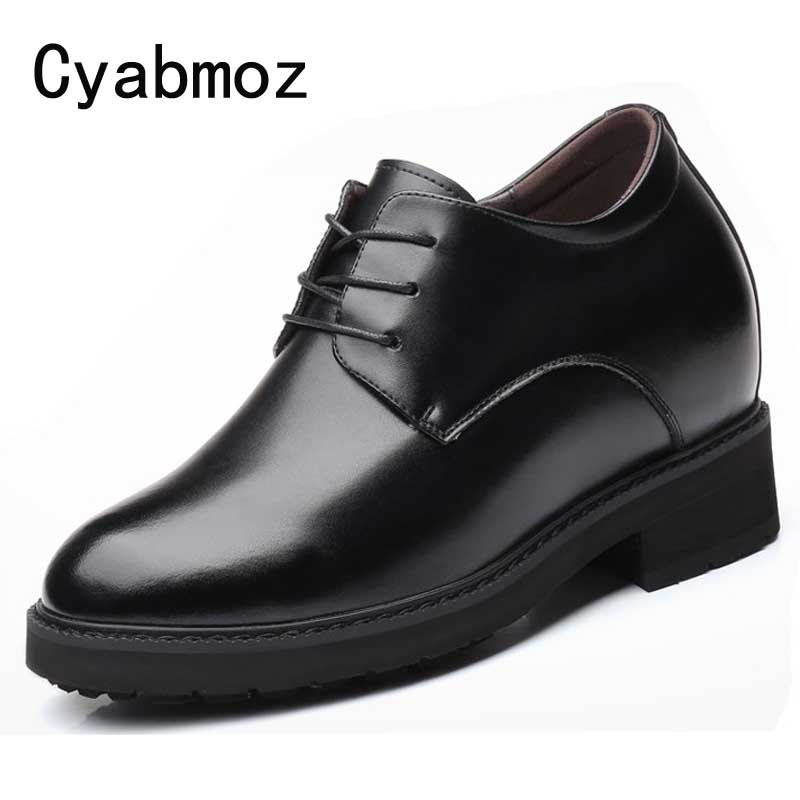 33bf4fcc564 12 CM Extra High Elevator Shoes Men's Split Leather Height Increasing Casual  Business Shoes Hidden Wedge