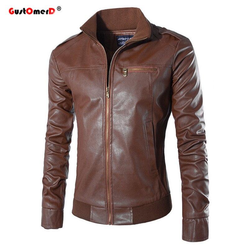 GustOmerD Stand Collar Epaulet Leather Jacket Men Slim Fit ...