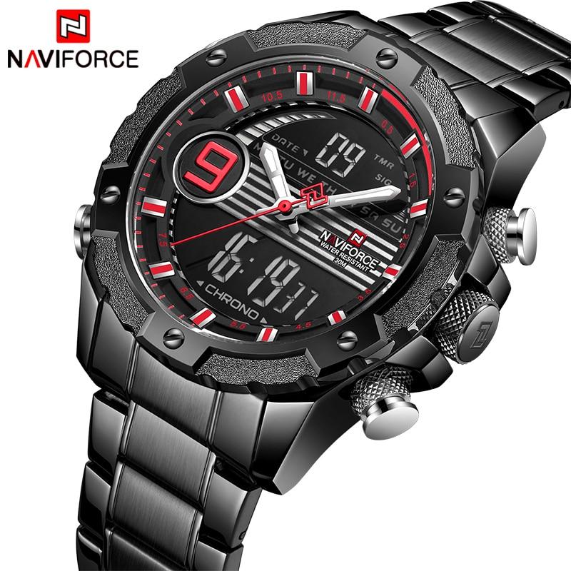 NAVIFORCE Fashion Sport Watch Men Quartz Digital Clock Mens Watches Top Brand Luxury Waterproof Army Military Full Steel Watch Quartz Watches     - title=
