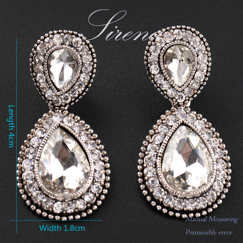 Ec065 Luxury Austrian Cz Crystal Rhinestone Vintage Silver Color Dangle Drop Chandelier Earrings Whole Prom Jewelry In From