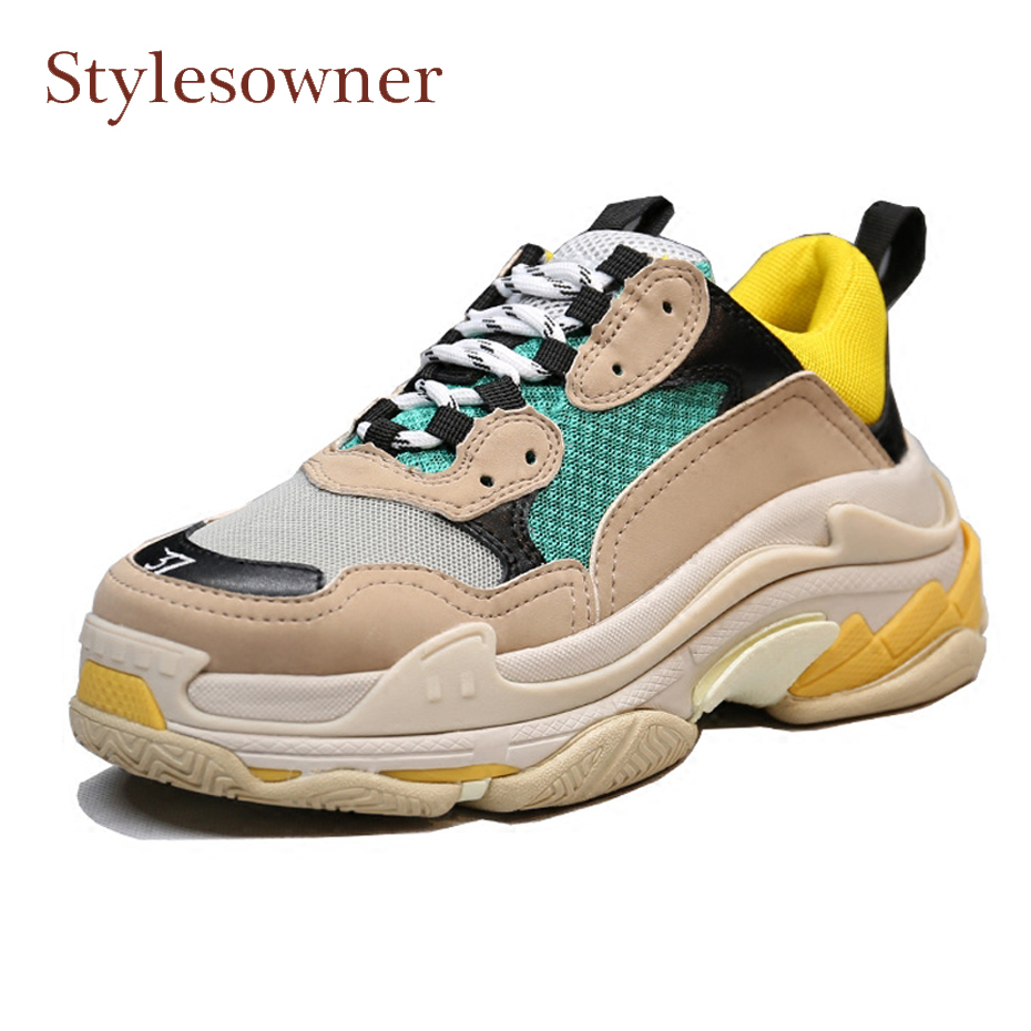 Stylesowner spring new women sneakers mixed color thick bottom flat travel shoes lace up breatherable casual shoes flats females instantarts women casual flats cute dog yorkshire terrier pug flower pattern sneakers for female lace up spring mesh flat shoes