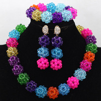 Wonderful Crystal Beads Balls Choker Necklace Set Colorful African Costume Women Gift Jewelry Set Free Shipping WA506