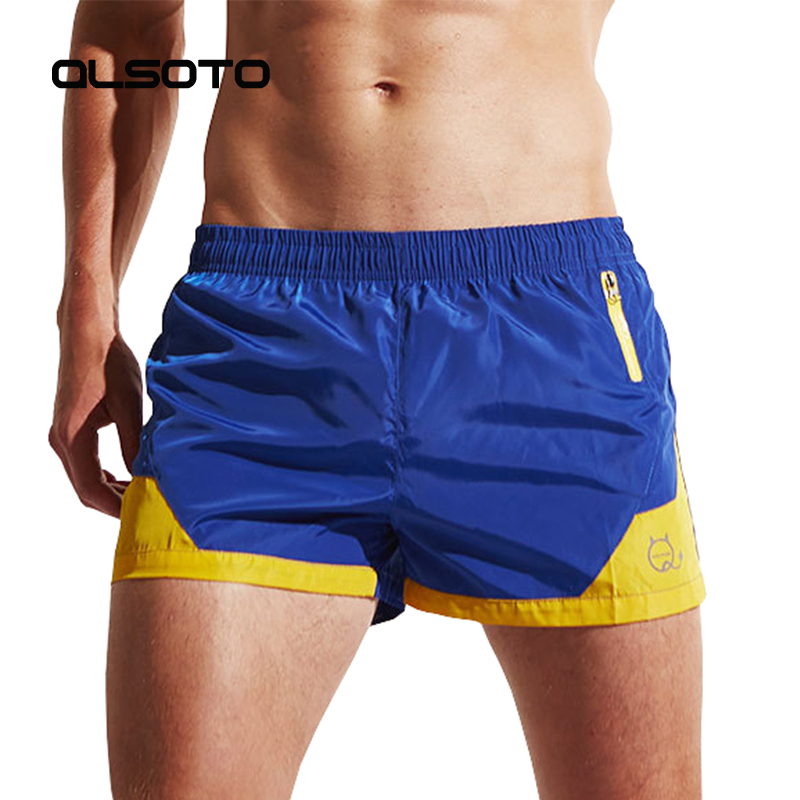 ALSOTO Summer Men Quick Dry Beach   shorts   Sexy Surf   Board   Solid Color Sports   Shorts   Pocket Comfortable Breathable pants