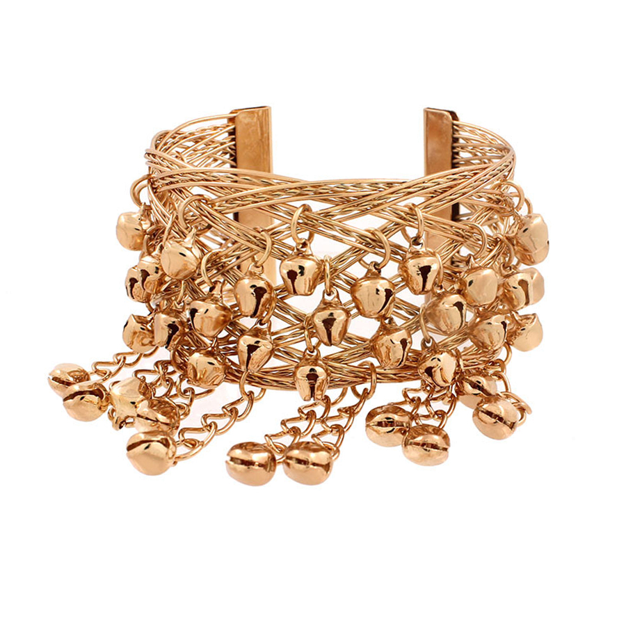 0647f6d853 SHEEGIOR Gold Small Bells Open Bracelets Bangles for Women Indian ...