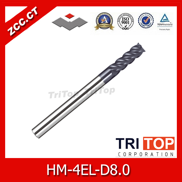 high-hardness steel machining series ZCC.CT HM/HMX-4EL-D8.0 4-flute flattened end mills with straight shank