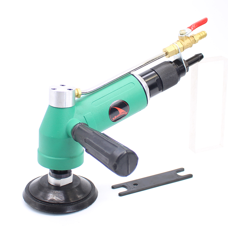 YOUSAILING Water-feed Type 4 Inches Pneumatic Water Sander Air Wet Sander  Polisher  100mm Water Wet Sander 110 Degree swingable pneumatic eccentric grinding machine 125mm pneumatic sander 5 inch disc type pneumatic polishing machine