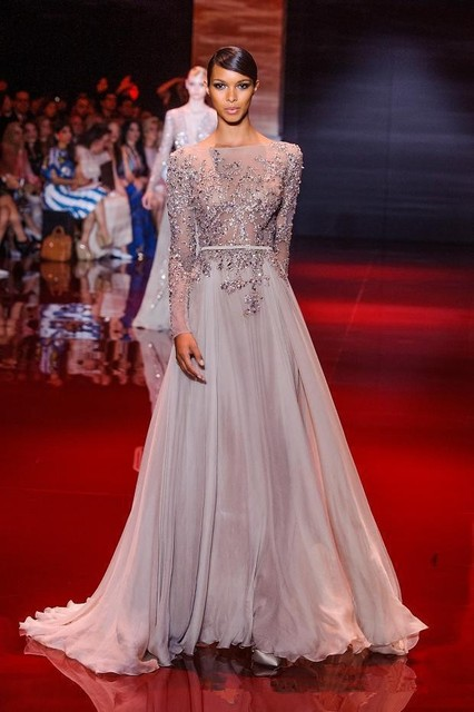 Grey Chiffon Long Sleeve Open Back Formal Elie Saab Evening Dress ...